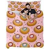 TIZORAX - Juego de funda de edredón y 1 funda de almohada, color gris oscuro, cálido y hermoso, cómodo sandwich Donut Good Humor, Material de fibra química., Multicolor, Queen quilt(91 x 87) + 2 pillowcases(20 x 30)inch
