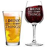 I Drink And I Know Things Beer and Wine Glass Set- Cool Present Idea for Bridal Shower, Wedding, Engagement, Anniversary and Couples - Him, Her, Mr. Mrs. Mom Dad