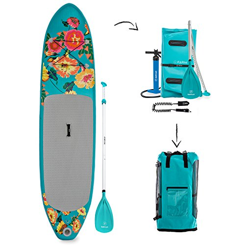 """Supflex iSUP 10"""" Flowery Edition Inflatable Stand Up Paddle Board Package - Board, HP, Bag, Paddle & Free Leash"""