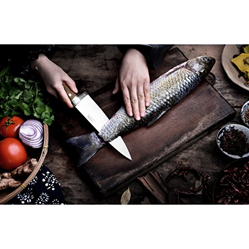 Chef's Knife,Professional Stainless Steel Kitchen Knife with Wooden Handle,Full Tang 8-inch Chef's for Home/kitchen