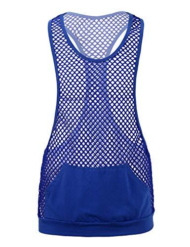 TiaoBug Homme Débardeur Maille Maillot de Corps de Sport Fitness Musculation Running Gymnastique Transparent Gilet avec Poche Tank Top Haut de Danse Sportswear M-XL Bleu Royal M