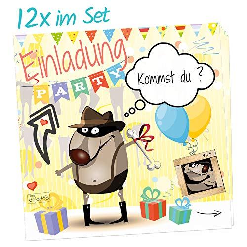 """dejadooⓇ 12-er Set Einladungskarten zum Kindergeburtstag """"Luca"""" (für Jungen) - die besondere Einladung zum Kinder Geburtstag im außergewöhnlichen quadratischen Format"""