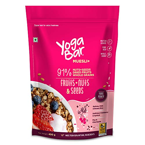 Yogabar Breakfast Cereal & Muesli   91% Fruit and Nut + Seeds + Whole-Grains   400g