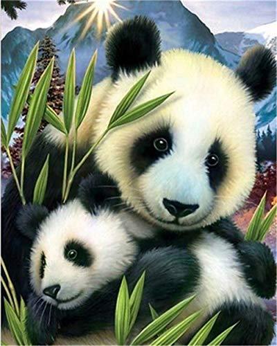 YEESAM ART DIY Ölgemälde Malen nach Zahlen Erwachsene Kinder, Panda Tier Grün Bambus Zahlenmalerei ab 5 Öl Wandkunst (Panda, ohne Rahmen)