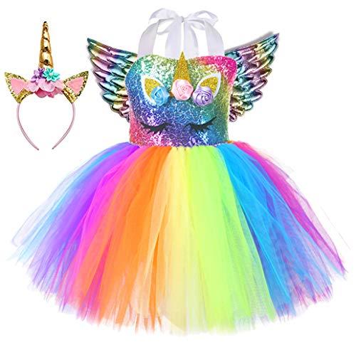 Tutu Dreams Unicorn Dress Girls Rainbow Tutu Birthday Outfits with Unicorn Headband Wings Role Play (Sequin Rainbow + Wings, 8-9 Years)
