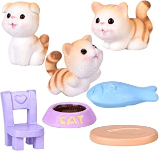 WINOMO 1 Set / 7 Stks Mini Dier Beeldje Set Micro Landschap Bloempot Hars Kat Miniatuur Kitten Dieren Ornamenten Bonsai Di...