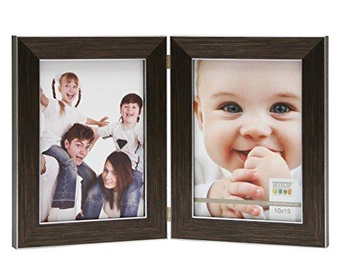 Deknudt Frames S41VK3-H2V-10.0X15.0 Bilderrahmen, aufklappbar, für 2 Fotos, Hochformat, Braun 18,2 x 13,9 x 1,7 cm