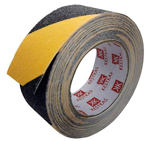 Cinta Antideslizante Seguridad 50mm x 10m KESTKAS - Cinta Adhesiva para Suelo Interiores y Exteriores - Alta Tracción - Resistente - Fijación Instantánea - Amarillo y Negro - Señalización
