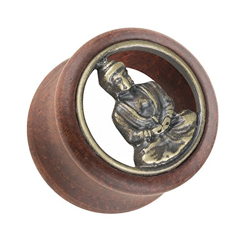 Piersando Ohr Plug Flesh Tunnel Piercing Ohrpiercing Organic Double Flared Holz mit Buddha Zeichen Inlay Braun Gold 20mm