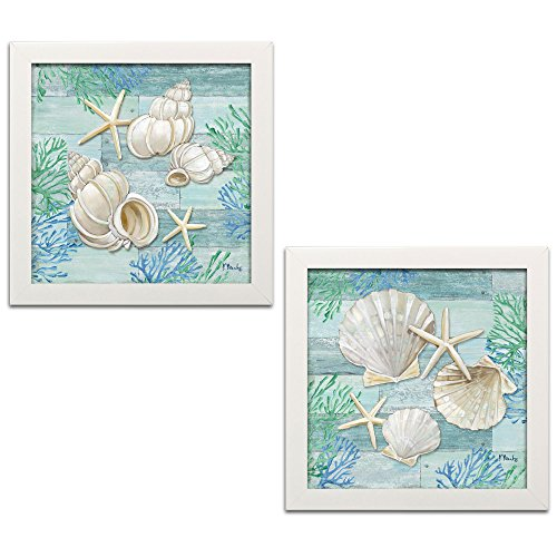 Gango Home Decor Coastal Watercolor Beach Decor | Blue, Green & Cream Shell & Starfish by Paul Brent (Ready to Hang); Two 12x12in White Framed Prints