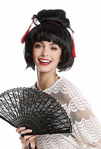 WIG ME UP - 90747-ZA103 Perücke Damen Halloween Karneval Japan Geisha Maiko Chinagirl Asiatin Dutt Steckfrisur schwarz