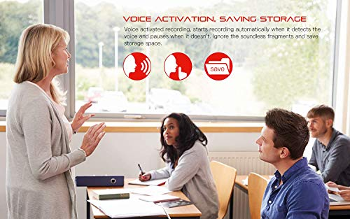 Digital Voice Recorder, COOAU 8GB Rechargeable Dictaphone, Portable Sound Audio Recorder, MP3 Player, A-B Repeat, USB, Noise Canceling, One-button Recording for Interviews, Lectures, Conferences