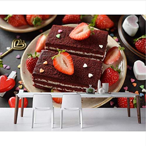 Lvabc Snoepjes Cake Aardbei Voedsel Behang, Woonkamer Bakkerij Snoepjes Shop Keuken Restaurant Muur Papieren Home Decor-280X200Cm