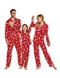 Ekouaer Family Pjs Sets Unisex Boys and Girls Pajama Set Button Down Sleepwear for Christmas Holiday(Men/Red,XXL)