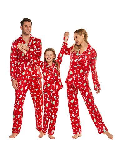 Ekouaer Matching Pajamas Mens Christmas Pajamas for Family Pj Set Nightsuit with Button(Men/Red,L)