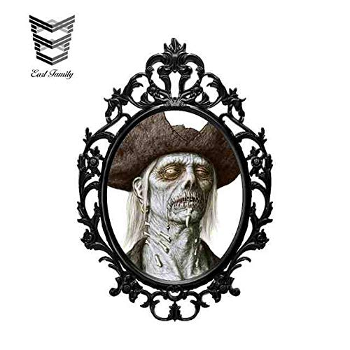 YDBDB 13 cm x 8,9 cm Halloween Terror Hexe Spiegel 3D Auto Aufkleber Auto SUV Vinyl Grafik Dekor Fenster Autoscooter Karosserie Aufkleber Stil A