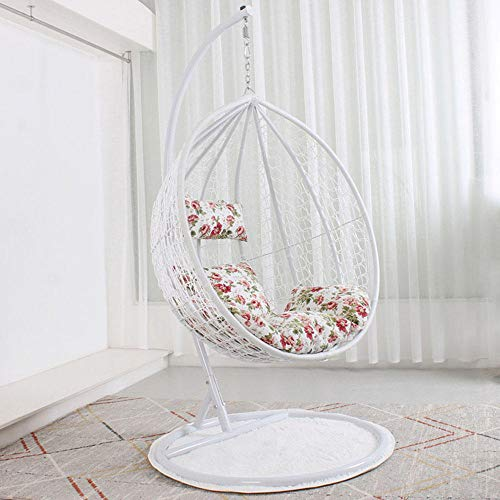 QPALB Rattan Hanging Chair with Stand 195 * 105cm with Cushion Egg Chair for Bedroom Balcony Garden Courtyard 150kg-White