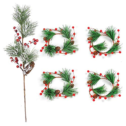 CUHAWUDBA 5 Pcs Red Winter Pine Cones Christmas Flowers & 4Pcs Artificial Decorative Berry Wreath Pine Cone Wreath