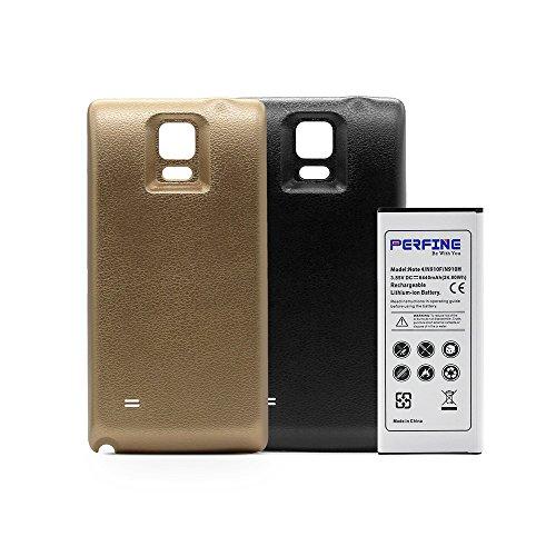 Perfine Note 4 [6440 mAh] Erweiterter Akku mit NFC für Galaxy Note 4 / N910F / N910H Ersatzakku mit 2 Back Case (Schwarz-Gold) + (180 Tage Kostenlose Garantie)