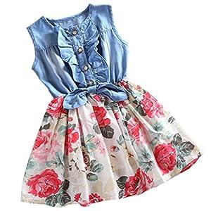 LittleSpring Little Girls Floral Sundress Sleeveless Lace Beach Dress