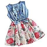 Csbks Little Girls Summer Sleeveless Floral Denim Dress Toddler Bow Casual Sundress White 160