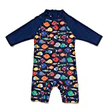 upandfast Baby Boy Swimsuit One-Piece Rash Guard Infant Sun Protection Swimwear (12-18 Months, Colorful Fish)
