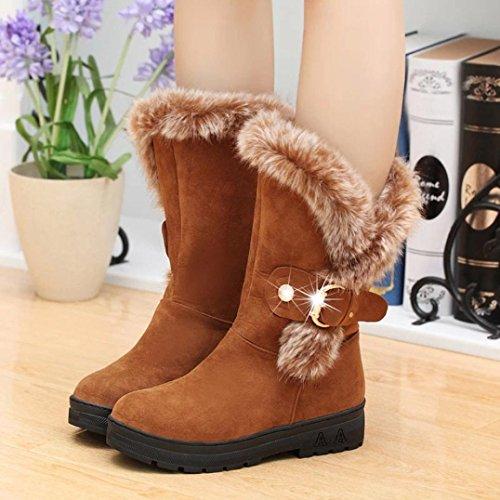 Hemlock Snow Boots Womens, Women's Winter Warm Calf Boots Soft Slip-On Long Boots Shoes Booties (US:7.5, Brown)