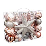 Sunshine 71 Piece Christmas Tree Ornament Set with Glittered Star Treetop, Shatter-Proof Holiday Ornament, Two-Color Combination Christmas Ornament Ball(Champagne Gold)