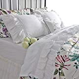 Queen's House Luxury Eyelet Lace Bed Sheet Sets White Deep Pocket Fitted Sheet and Pillowcase Set King