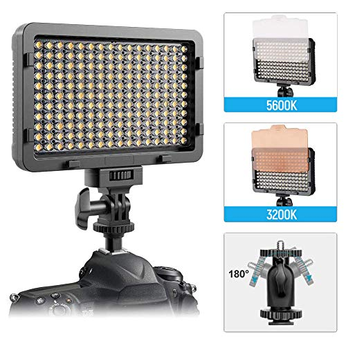 LTPAG Kamera Videoleuchte, 176 LED Dimmbare Videolicht für Canon, Nikon, Pentax, Panasonic, Sony, Samsung, Olympus und andere Digitale SLR-Kameras/Camcorder