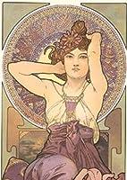 ペイントナンバーキットアルフォンス・マリア・ミュシャのイラストとブラシとアクリル絵の具DIYキャンバス絵画大人向け初心者向け