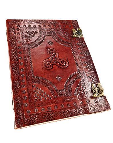 Kooly Zen - Cuaderno de notas para diario, libro, álbumes, cuaderno de dibujo o de bocetos, scrapbook, cuero auténtico, Triskel, 25 x 33 cm, papel premium