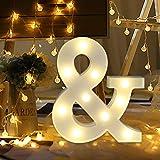 Letras Luminosas Decorativas con Luces LED, XVZ Luces LED de letras y números con pilaspara decoración de cumpleaños, decoración romántica de bodas - Letra &