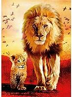 ライオンの大人の母と息子のためのクロスステッチキット11CT16x20inch初心者のためのDIY刺繡刺繍キットリビングルームと寝室の装飾のためのクロスステッチキット