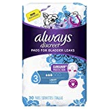 Always Discreet Incontinence & Postpartum Incontinence Pads for Women, 90 Count, Light Absorbency (30 Count, Pack of 3-90 Count Total)