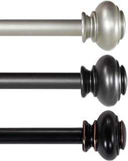 H.VERSAILTEX Window Treatment Single Rod Set with Classic Caps, Adjustable Length from 28 to 48-Inch,3/4 Inch Diameter, Black (Antique Bronze Finish)