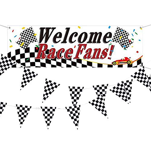 FunPa 2PCS Racing Party Banner Plaid Bunting Banner slinger achtergrond foto Booth Prop Party Decoratie
