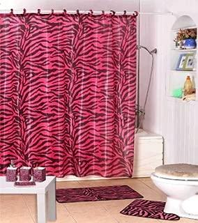 Dreamkingdom - Pink/Black Zebra Design Shower Curtain with Decorative Roller Rings/hooks