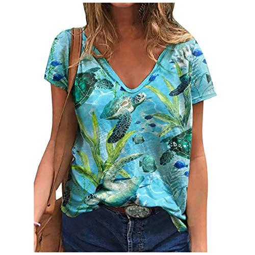 Toeava Womens Short Sleeve Tops, Womens Summer Loose T-Shirts V-Neck Fashion Boho Sea Turtle Print Tie Dye Blouse Tops Blue
