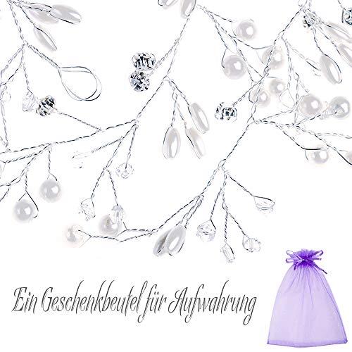 Skitic Strassbesatz Haarband und Stirnband mit Kristall, Fashion Schön Style Kopfschmuck Haarbänder Lange Glänzende Haarranke für Frauen und Mädchen (Silber) - 5