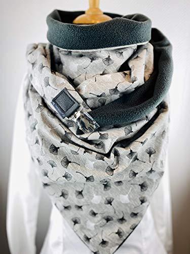 XXL Dreieckstuch, TUECHERFEE Halstuch mit einem süßen Verschluss, bestehend aus dunkelgrauen Fleece und einer grauen Baumwolle mit grau/weißen Pusteblumen/ein Clip sorgt für den perfekten Sitz