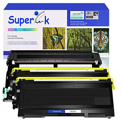 SuperInk 3 Pack Compatible Toner Cartridge & Drum Unit Set Compatible for Brother TN350 DR350 use in DCP-7010 HL-2030 HL-2070N Intellifax 2820 MFC-7220 Printer (2 Toner, 1 Drum)