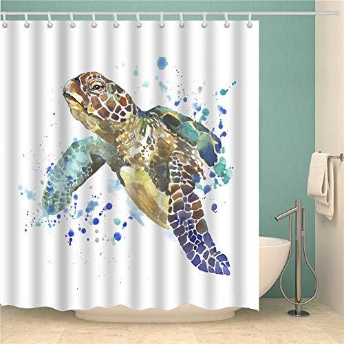 Qlldwxu Bath Curtains,Underwater World Turtle Shower Curtain,Quick Dry Water-Resistant Fabric Bathroom Curtains,Washable...