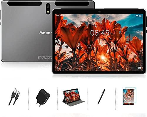 MEBERRY Tablet 10.1 Pollici 8 Core 1.6 GHz 4GB RAM 64GB ROM Android 10 Pro Ultra-Veloce Tablets PC,128 GB Espandibile | Doppia Fotocamera(5MP+8MP) | 8000mAh | Solo WiFi | GPS | Google GMS, Grigio