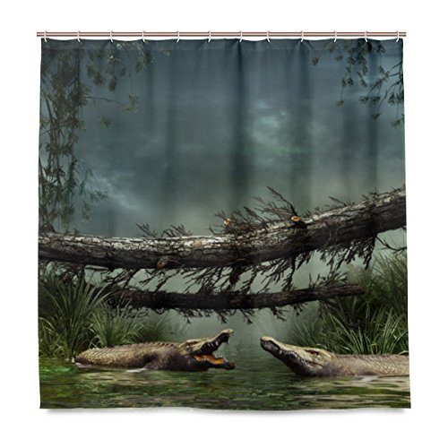 BALII Bali Duschvorhang Krokodil in Swamp 183 x 183 cm Polyester wasserdicht mit 12 Haken für Badezimmer