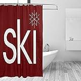 Duschvorhänge Ski Winter Schnee Schneeflocke Roter Duschvorhang Bauernhaus Winter Badezimmer Dekor mit Haken 70 x (70x70 in)