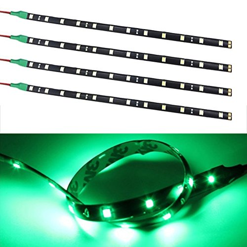 TABEN 12V Coche Moto 30CM LED Tira de luz Flexible Impermeable Verde 5050-12SMD (Paquete de 4)