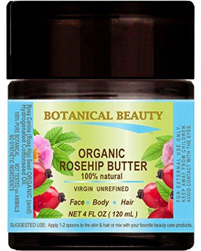 Aceite de Escaramujo semillas–mantequilla Orgánica 100% natural/Virgin/sin refinar/RAW/100Pure Botanical. 4fl. oz.-120ml. Para Cuidado De La Piel, Cabello y Uñas.