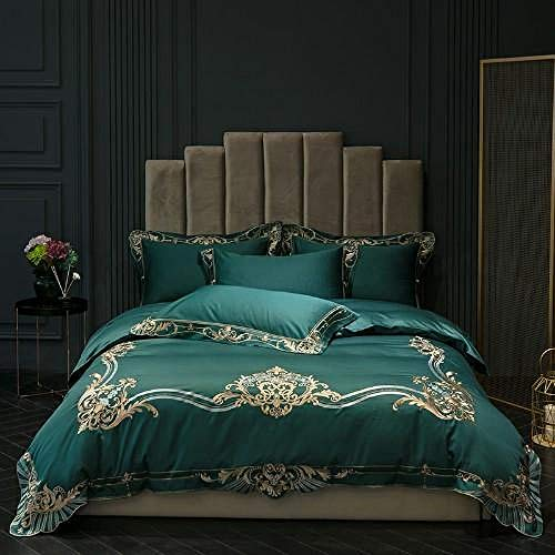 TYDH New arrivel 600TC Egyptian bedding sets Red Green Peach bed set queen king size duvet cover Fitted bed sheet set parure de lit bedding set 5 Fitted sheet style Queen size 4pcs
