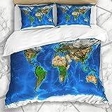 Funda nórdica Configura el mundo Vista satelital detallada Formaciones terrestres de la Tierra Mapa asiático global Ciencia Geología geográfica Océano Ropa de cama de microfibra con 2 fundas de almoha